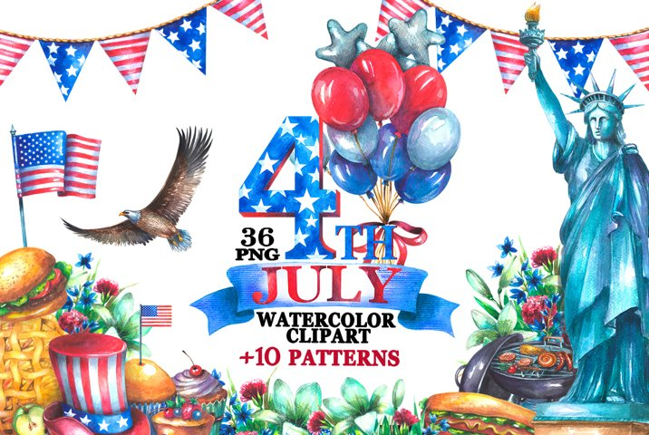 Watercolor 4th of july clipart