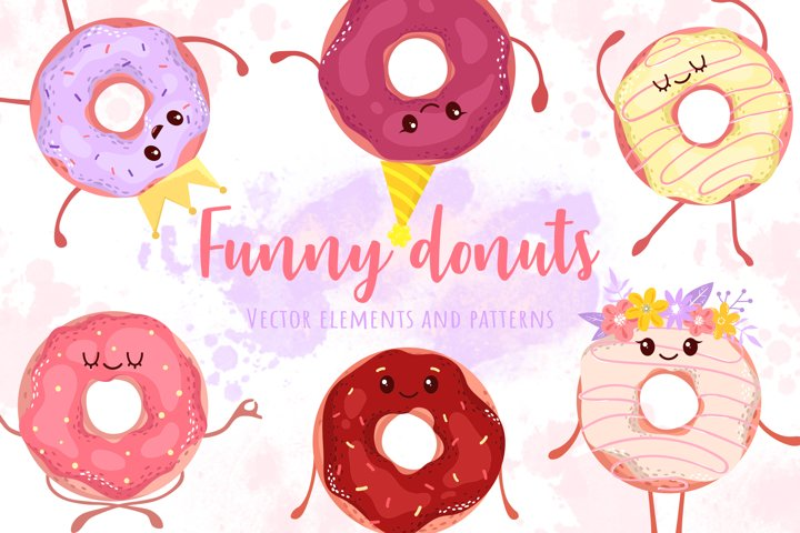 Funny donuts. Patterns and elements set.
