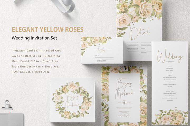 ELEGANT YELLOW ROSES WEDDING INVITATION SET