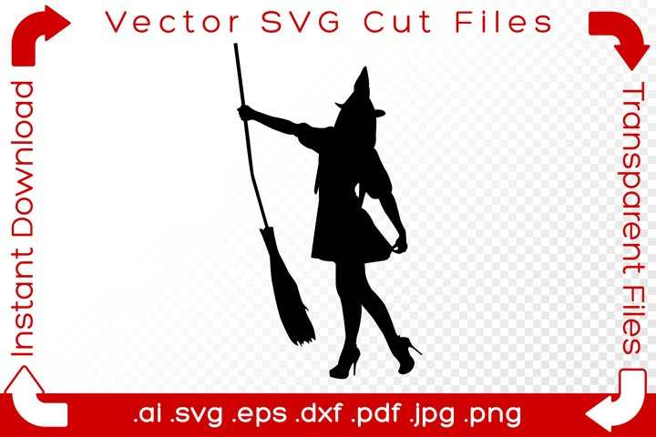 Witch SVG Black Silhouette Shape Halloween Vector Cut File