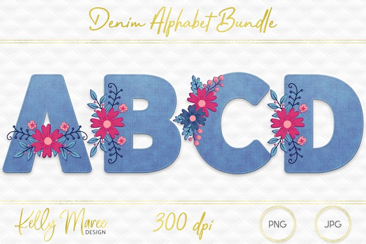 Light Denim & Floral Alphabet Graphic Bundle