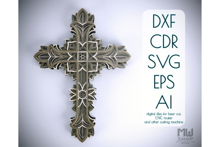 Cr13 - Multilayer Cross, Laser cut Cross, Cricut Cross SVG