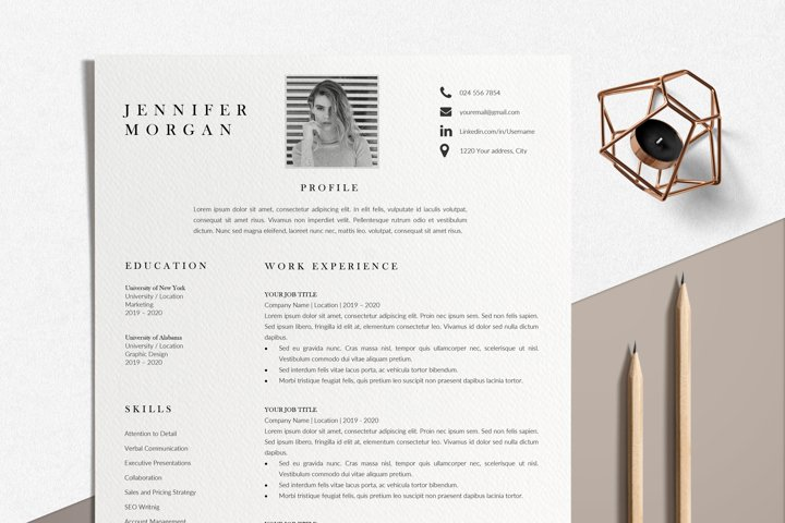 Modern Resume Template Word | Resume Template with Picture