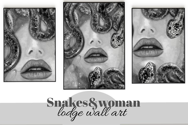 Snakes&woman face. Triptych printable lodge wall art.