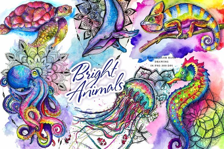 Set of bright watercolor animals PNG