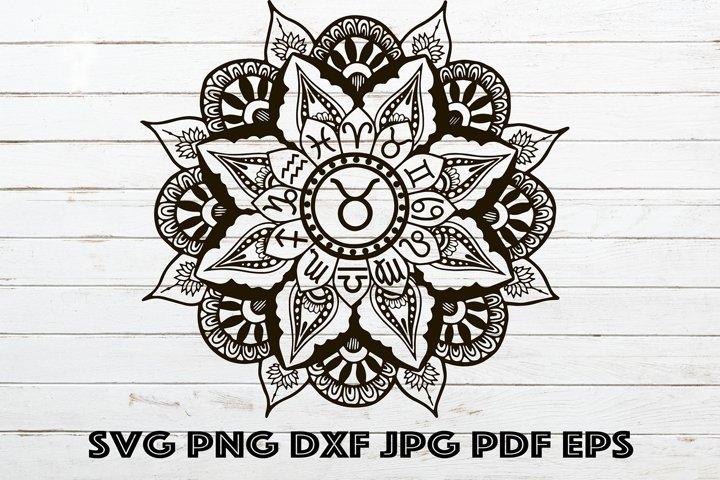 Mandala Taurus SVG, Mandala Zodiac SVG, Zodiac for Cricut