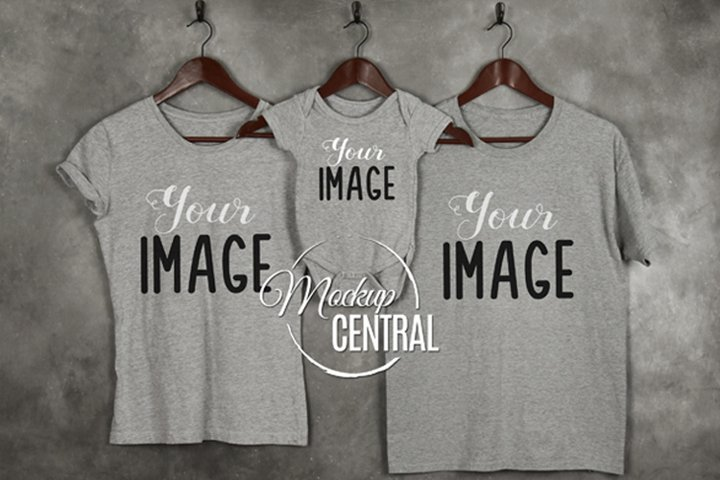 Family Mother, Father & Baby Matching Gray Mockup T-Shirts