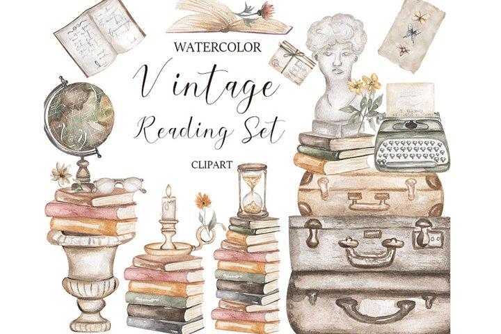 Watercolor Vintage Reading Clipart