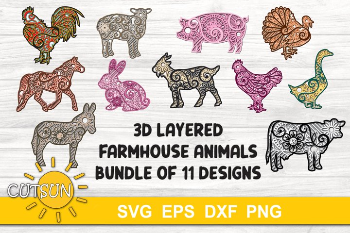 3D Layered Farmhouse Animals Mandala SVG Bundle - 5 layers