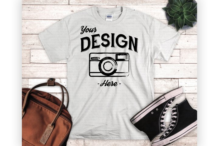 White Shirt Mockup Mens White Tshirt Mock Up Flatlay