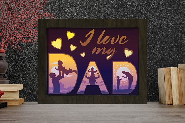 Simplified I Love My Dad 3D Paper Cut Light Box - Shadow box
