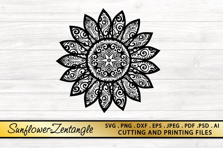 Sunflower SVG PNG EPS DXF Files for Cutting and Printing