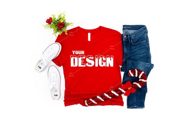 Bella Canvas 3001 Red T-shirt Mockup Unisex