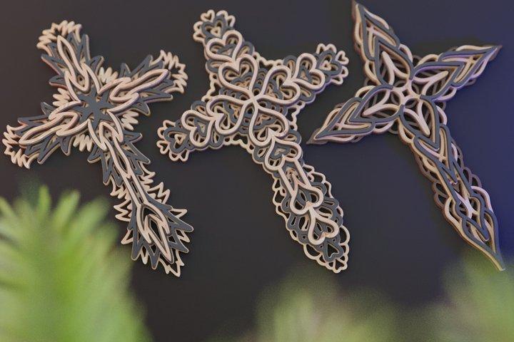 Cross 3 Layered Bundle - Cutting, laser cut Christian Cross