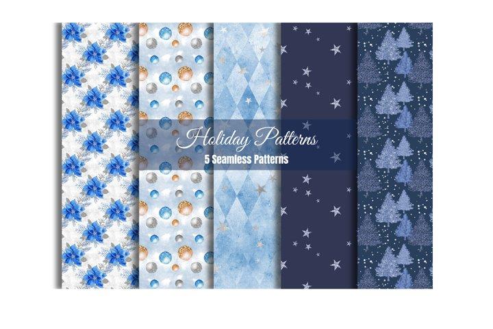 Blue Christmas Digital Pater, Seamless Pattern
