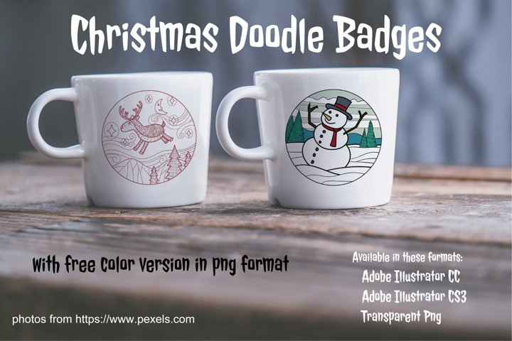 Christmas Doodle Badges