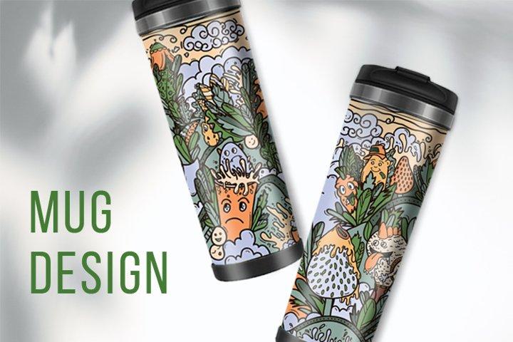 mug design with a fantastic world