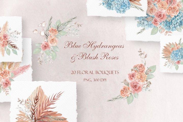 Blush Roses & Blue Hydrangeas - Watercolor Wedding Bouquets
