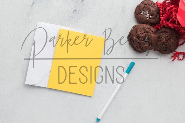 Blank Yellow Card Photo Mockup Photo with Chocolate cookies