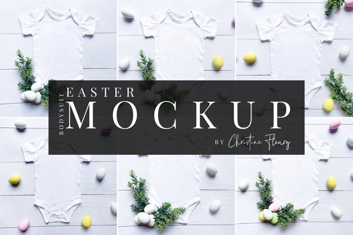 6 Easter Baby Bodysuit Mockups - Easter Mockup