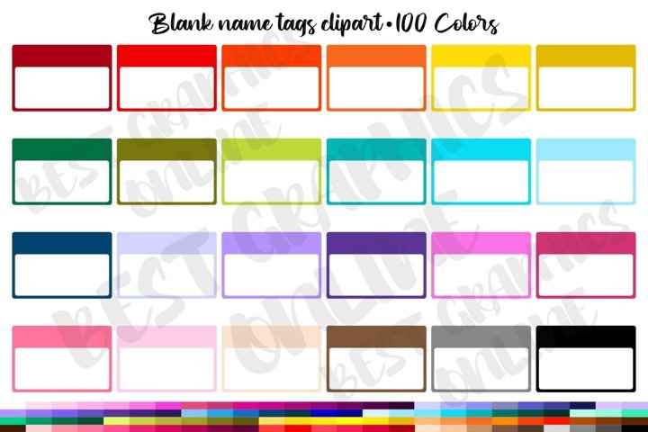 100 Name tags clipart, Blank name tags, Blank tag labels
