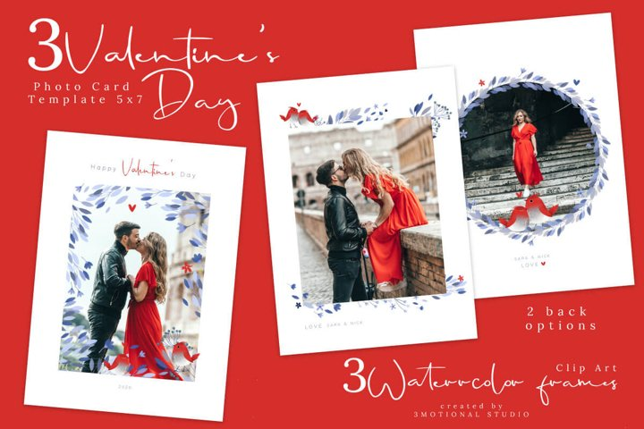 Valentines Day Photo Card Photoshop and PNG Template