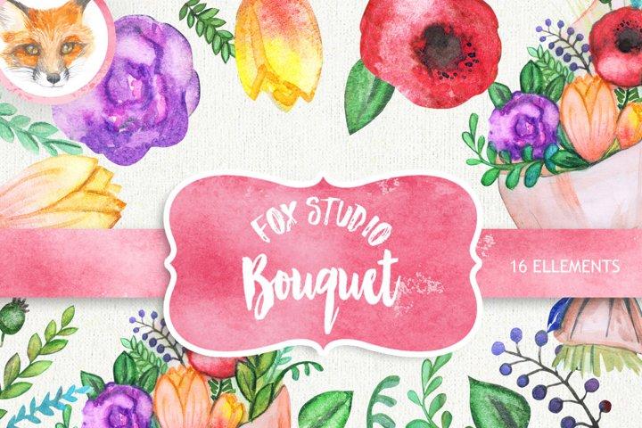 Flowers Watercolor Wreath & Bouquets, Roses, Hydrangeas