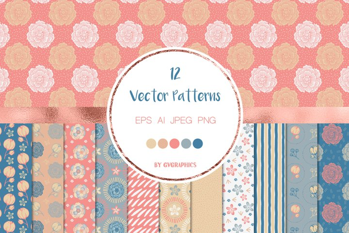 12 Blue and Pink Nature Vector Patterns