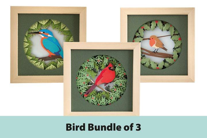 Bird Shadow Box 3D Papercut Template Bundle