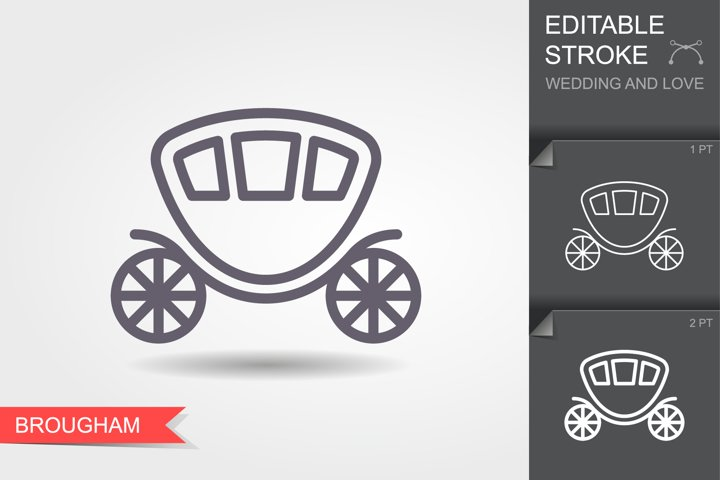 Wedding carriage. Line icon brougham with editable stroke
