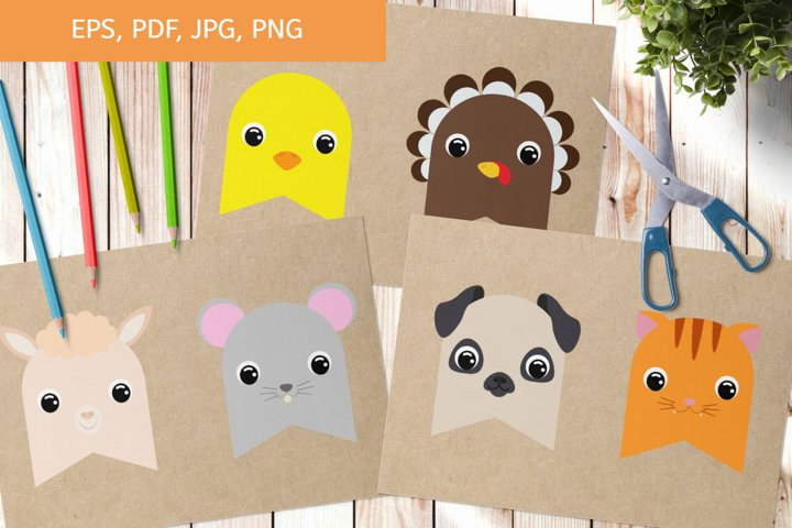 Cute Printable Animals Party Bunting Flags Set PNG