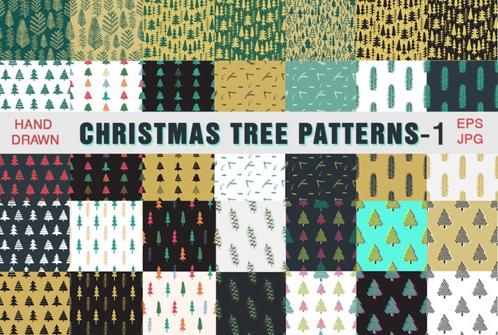 Christmas trees patterns collection