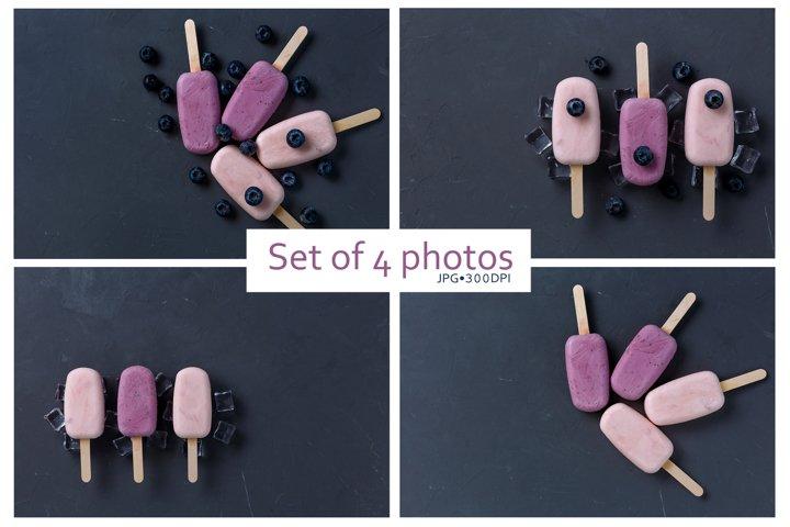Set of 4 stock photos of yogurt fruit ice cream