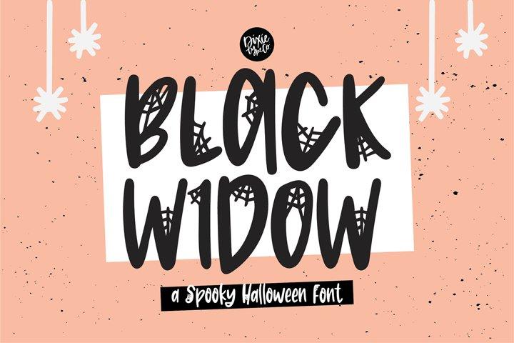 BLACK WIDOW a Webbed Halloween Font