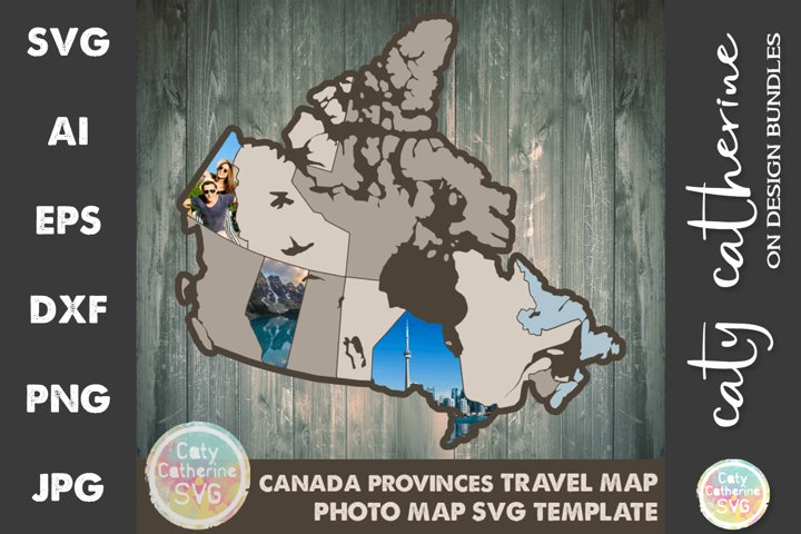 Canada Provinces Travel Photo Map SVG Template Cut File