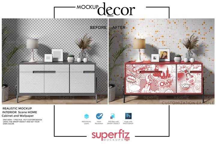 Interior Scene Mockup to Wall & Cupboard Design SM144