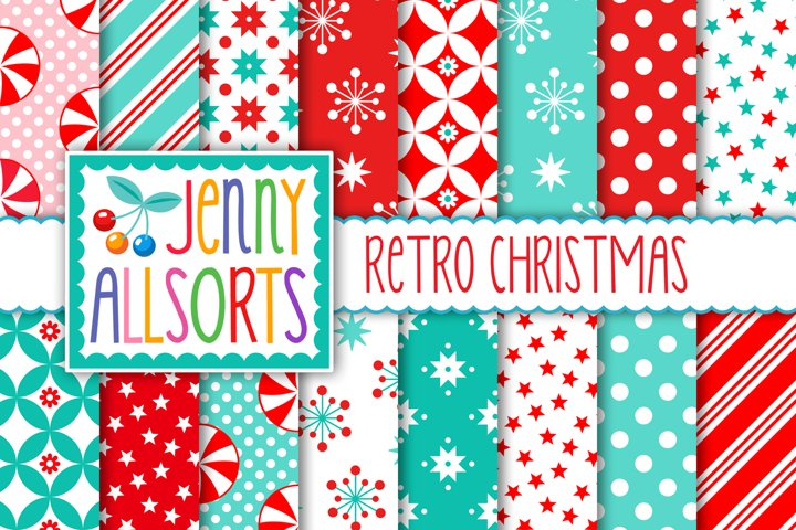 Retro Vintage Christmas Patterns, digital holiday papers