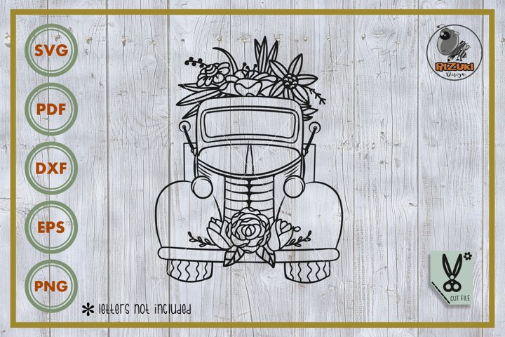 Truck SVG, truck with flower, truck silhouette, cut file