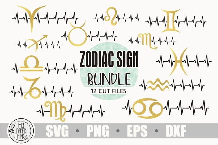 Zodiac svg bundle |Birthday svg | Heartbeat svg