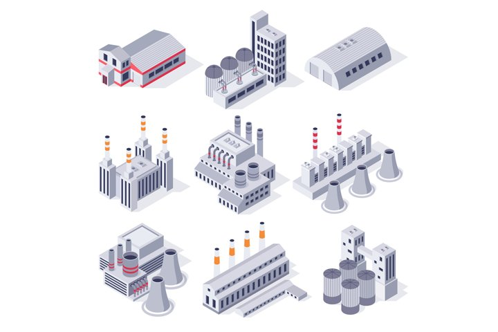 Isometric factory buildings. Industrial power plant building