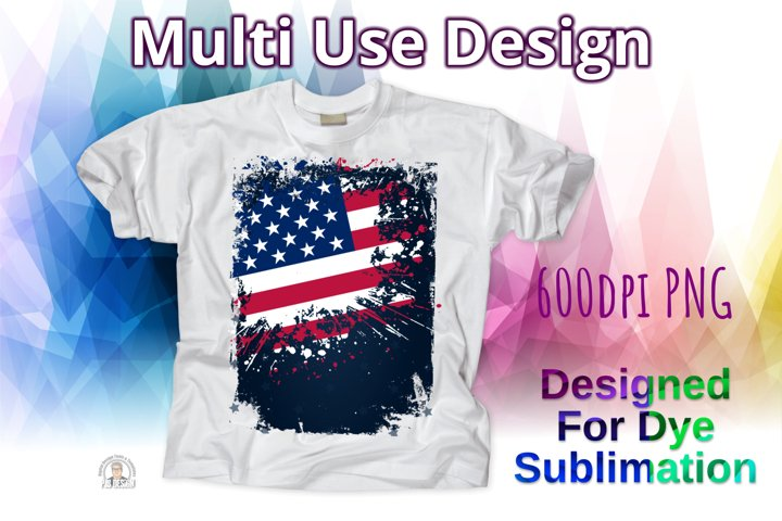 Grungy American Flag Vintage Worn Style Design - Sublimation