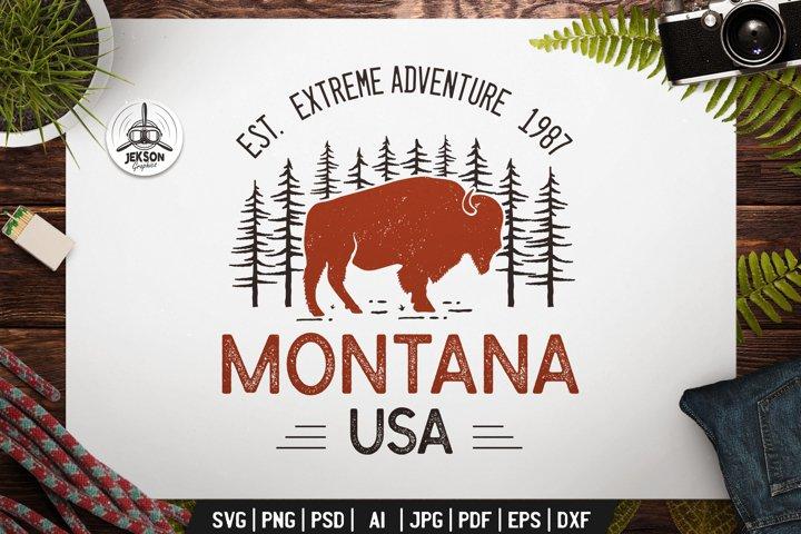 Montana USA SVG Retro Logo Outdoor Adventure Label DXF PNG