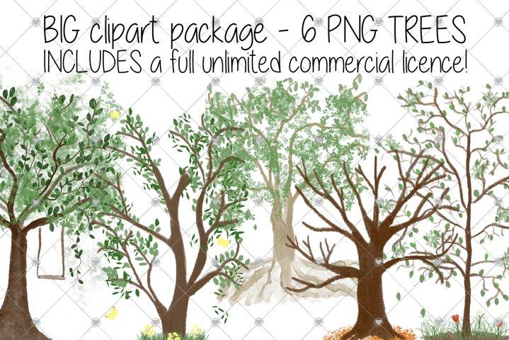 Family Tree clipart, Watercolour clipart, Oak Tree,
