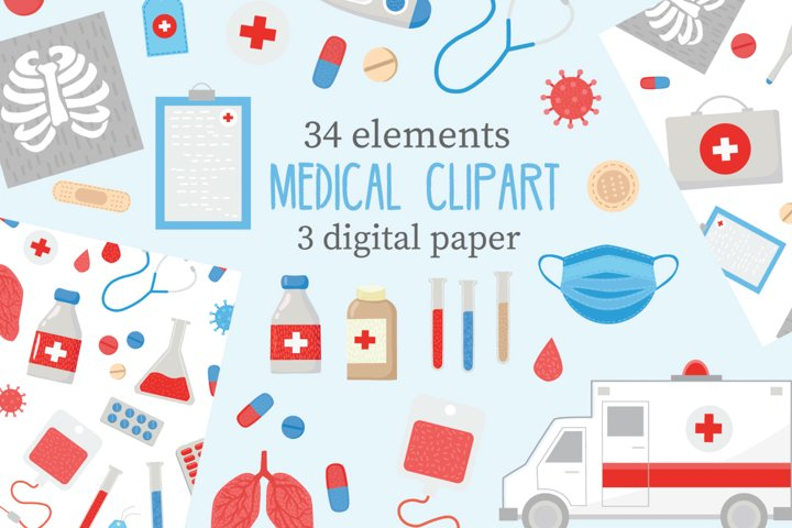 Medical Cliparts vector pack. Doctor vector set