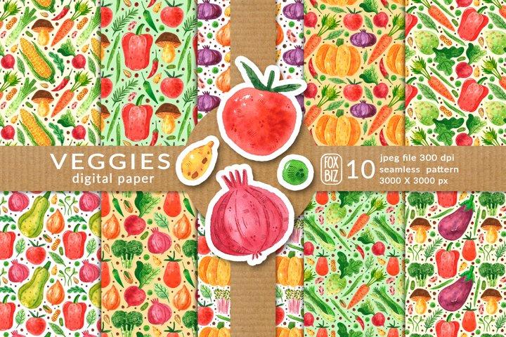 Vegetables digital paper, seamless pattern. Packaging design