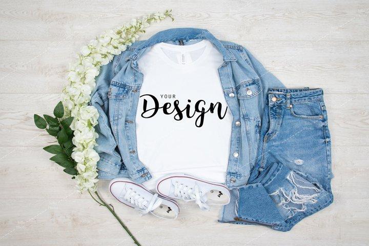 Bella Canvas 3001 White T-shirt Mockup for Summer