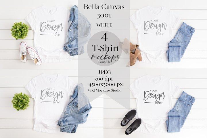 TShirt Mockup Bundle WHITE | 3001 Bella Canvas Mock ups