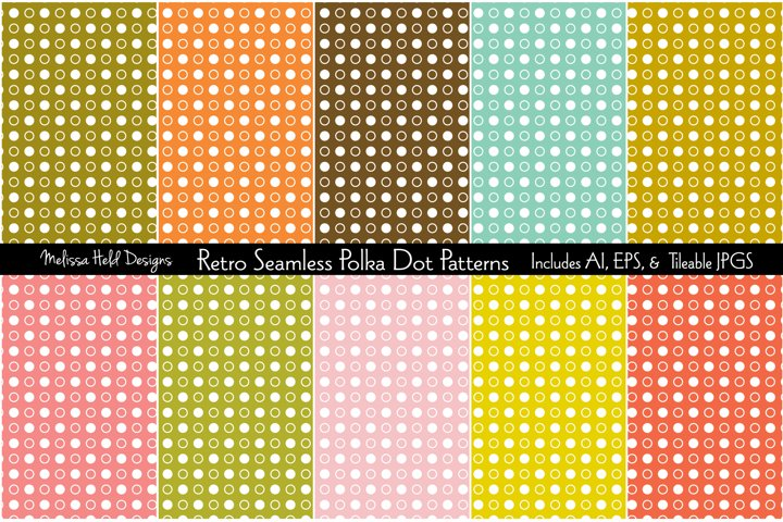 Retro Seamless Polka Dot Patterns
