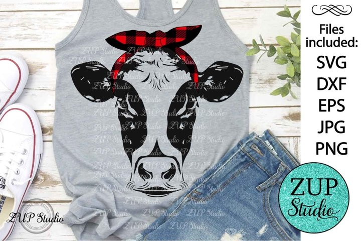 Cow Face with Plaid Bandana Digital Cutting files file 259