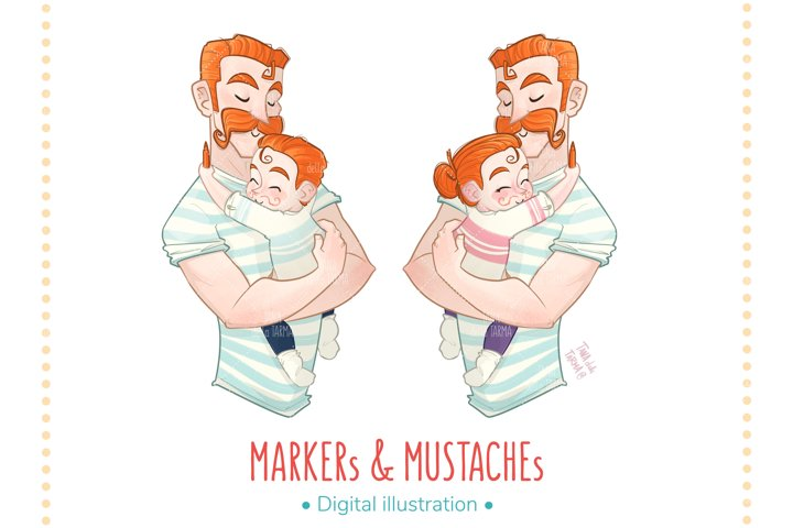 MARKERs & MUSTACHEs - Illustration for dad and son/daughter